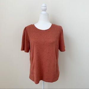 LOFT Salmon Textured Puff Sleeve Tee Shirt Top